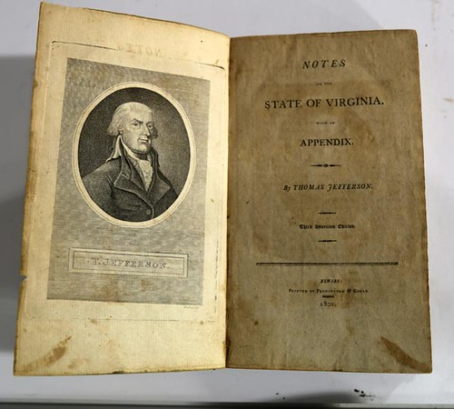 Notes on the State of Virginia by Thomas Jefferson, 3rd American Edition, 1801 ($476.00)