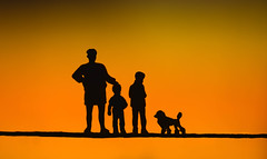 Macro Mondays - Silhouette - Little Family :) (cuppyuppycake) Tags: macro mondays hmm macromonday sihouette orange background dog people children