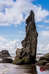 Oregon Monolith #1 (KnightedAirs) Tags: bandon beach oregon d5200 nikon nikkor digital afs ocean stone rock formation monolith sand sky clouds landscape nature coast coastal blue warm sun 60mm