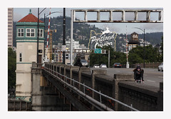 Portland Commuters (R. Drozda) Tags: portland oregon pdx burnsidebridge pedestrian bicycle bicycler walker bridge sign drozda