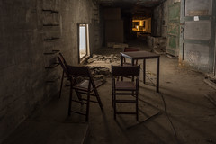 a table for four (stevefge) Tags: nijmegen vasim nederland netherlands nl nederlandvandaag reflectyourworld gelderland factory fabriek abandoned decay chair window ladder door