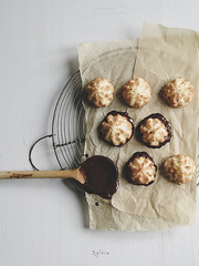 Chocolate Dipped Macaroons (Sylvia Houben) Tags: knolling flatlay macaroonday coconutmacaroon chocolate chocolatedipped