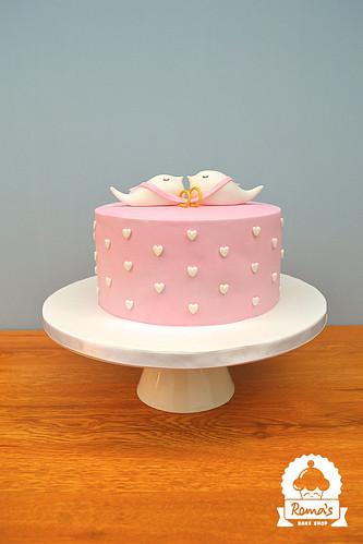 Birds engagement cake