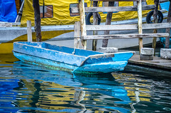 old blue boat on Lake Atitlán (Pejasar) Tags: 2015 guatemala college mission old blue boat fishingboat lakeatitlán reflections color vibrant water
