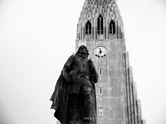 The statue of explorer Leif Eriksson (Halibel14) Tags: hallgrímskirkja iceland reykjavik blackandwhite olympus panasonic lumix travel