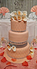 25th Wedding Anniversary to this couple. Peach color theme. Delivered to Oasis Banquet Hall in Mississauga. Flavors are ube macapuno and mocha cakes. Calla Lily toppers. All edible except the 25th bling topper and the boards Thanks for ordering Miss Event (email: thecakebooth@gmail.com) Tags: 25 callalily peach 25thweddinganniversary