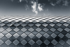 Armadillo (The Green Album) Tags: oxford student accommodation armoured armadillo abstract roof design diamonds patterns cloud sky surreal city urban fujifilm xt2