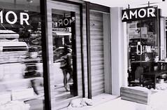 AMOR (35mm) (jcbkk1956) Tags: 45mmf28 amor love shop cafe street mono blackwhite analog contax 167mt ilford pan100 manualfocus thailand bangkok thonglo window reflection dog worldtrekker