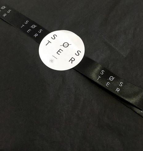 15mm zwart lint met wit bedrukt
