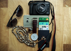 Project 365; #167 (iMalik1) Tags: project 365 days photo day challenge potd still life objects phone mobile samsung galaxy s6 edge ray ban sunglasses canon eos m3 camera watch ring jewellry credit secrid tasbih prayer rings aqeeq 600d tasbeeh essentials