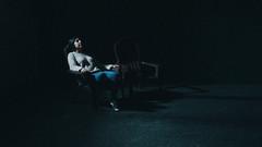 Me. (- Wendy Quispe -) Tags: portrait retrato girl woman soledad art personal sombras autoretrato blue clavebaja fotografíasdenoche flickr contrastes noche shadows