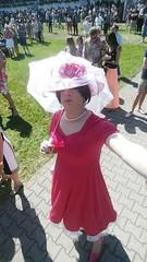 May 2017 - at the races in Iffezheim (cilii_77) Tags: cd tv crossdresser transvestite transgender outdoor elegant stockings hat makeup dress lipstick high heels public pearls petticoat