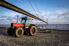 Tractor - Part Three (Ash' Burnham) Tags: bridge hull hull2017 yorkshire bridges beach beaches pretty beautiful red colourful tractor tractors sunset golden hour transport vehicle river humber hessle hessleforeshore humberbridge