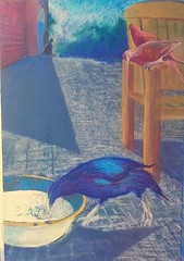 Team work. Pastel on paper. (Grant Eyre) Tags: pastel sketching bowerbird garden bird eating from cats bowl colorart