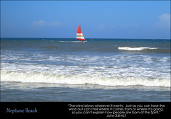 Neptune Beach, John 3:8 (Humbly Serving Christ) Tags: neptune beach jacksonville jax florida fl colorful sail sailing boat coastline coast coastal seashore sea shore shoreline waves atlantic ocean windsurfing us usa united states america east seaside horizon blue water breakers