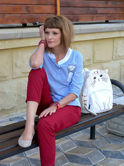 DSCN3486+Doshedevr+Ps (Mama Told Me) Tags: outfit look lookoftheday outfitoftheday lookbook marsala stripes cats backpack casual model fashionblogger fancy activered howtowear sunglasses catlook catlover