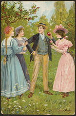 Romantisk motiv (National Library of Norway) Tags: nasjonalbiblioteket nationallibraryofnorway postkort postcards romantikk romance kvinner women menn men vintage jennynystrøm epler apples
