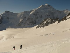 Aletschorn back there, skinning towards Abeni Fleu