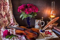 Thank You for the Music (memoryweaver) Tags: feather quill inkwell sheet music tabletop indoors wall oak material drape stilllife memoryweaver kerosene paraffin light lamp oillamp violin vase flowers roses bourbonroses