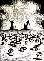 Post-Nuke #2 (Federici Luca) Tags: linocut linoprint engraving linogravure printmaking radioactive radiation postapocalyptic postnuke lostworld postapocalypse postnuclearwar fallout postnuclear