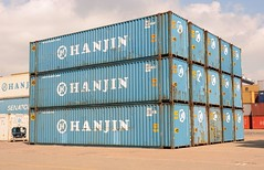 A stack of Hanjin 45' containers (Rick Vince) Tags: hanjin 45container containerterminal containeroperations portoffelixstowe shippingcontainer containerstack