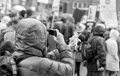 Flat Stanley (Seattle's March for Science) (jfearer_photo) Tags: 500px 35mm flat stanley street film black white urban washington trix kodak seattle minolta march protest 400 d76 bw for science push development