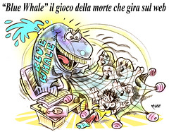 """Attenti alla BALENA BLU (Moise-Creativo Galattico) Tags: editoriali moise moiseditoriali """"editorialiafumetti"""" giornalismo attualità satira vignette bluewhale web"""