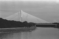 Rędziński bridge (Weaver_23ph) Tags: bridge construction industrial texture abstract wrocław eos30 analog film biometar czj zeiss rędziński water odra river nature sky architecture 35mm