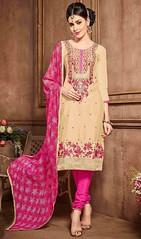 Beige Color Cotton Embroidered Churidar Suit