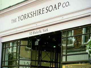 York - soap shop with soap bubble machine sending out fragrant bubbles