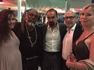 Mega art collector Jorge Perez, center, with Nora Rivera, artist Tomas Esson, gallerist Fred Snitzer and Ingrid Vazquez-Luhn. At the PAMM VIP opening