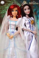 Bride Wars: Ariel & Vanessa (The Little Mermaid) (PrinceMatiyo) Tags: bridewars weddinggown doll toyphotography disneyvillain ursula vanessa disneyprincess ariel thelittlemermaid