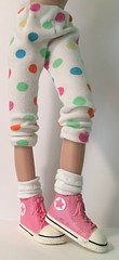 White Leggings With Multi-Color Dots...For Blythe...