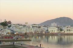 Sunset Over Pushkar's Holy lake and City - India (Mary Faith.) Tags: india lake pushkar holy town ghats bathing sunset
