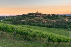 Sunset - San Gimignano (Captures.ch) Tags: 2017 black blue brown capture cypresses evening grapes gray green hills italy landscape may nature olives orange red sangimignano sky spring sunset trees tuscany white wine
