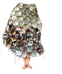 wearing the news (Ines Seidel) Tags: self news texture wearing wearable wearableart newspaper pattern fibreart zeitung paper papier nachrichten anziehen feet füse