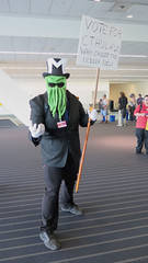 Vote for Cthulhu! (Coyoty) Tags: anthrocon2016 davidllawrenceconventioncenter pittsburgh pennsylvania pa furry anthropomorphics convention fandom furryfandom people costume cosplay cthulhu politics election voting green black stripes evil eldergod hplovecraft lovecraft lovecraftian humor funny joke satire m campaign campaigning yarn mask sign candidate hat glasses sunglasses shades color surreal fun horror obligatory ogt obt ort oyt owf suit