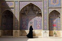 Rule of chador (deus77) Tags: shiraz iran iranian woman chador mosque architecture pink nasirolmolk