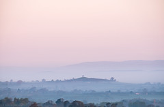 In to View (Sarah_Brooks) Tags: mist misty morning hill somerset landscape spring somersetlevels blue pink
