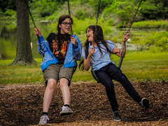 BFF's (Noel Alvarez1) Tags: sisters giampietro memorial park vineland nj usa lumix g7 lake green afternoon relaxing childplaying spring