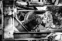 Angles, Sprockets And Chains (Roy Manchester) Tags: catskill newyork unitedstates us canon 5dsr 85mm 85mm12l primelens prime blackwhite availablelight acraswiss canonllenses eos ef geotag gps gears machinery manfrotto hoyacpl catskillcreek iron monochrome