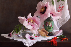 May Is Pink (panga_ua) Tags: mudan paeoniasuffruticosa paeonia treepeonies china spring may flowers floral embroidery pink green red e