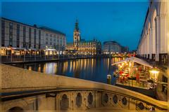 Hamburg (PhotoChampions) Tags: hamburg germany deutschland nightshot cityscape alsterarkaden reesendammbrücke bluehour blauestunde