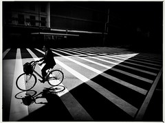 Namba crossing (1)'.      (iPhone6 (Mark Fearnley Photography) Tags: monochrome atmosphere drama mood bicycle bike fineart streetphotography blackwhite japan tokyo bnw