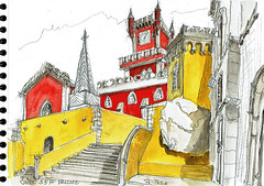 Palais Pena à Sintra (Croctoo) Tags: croctoo croquis croctoofr portugal sintra aquarelle watercolor chateau