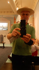 Self portrait in mirror at the Queen's Gallery  Canaletto exhibition wearing Gondolier's hat (John Steedman) Tags: london uk unitedkingdom england イングランド 英格兰 greatbritain grandebretagne grossbritannien 大不列顛島 グレートブリテン島 英國 イギリス ロンドン 伦敦 queensgallery