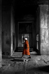 Old with the new (gaz_jamieson) Tags: shadows dark monk buddhist buddhism simple selectivecolor coloursplash cambodia asia angkor angkorwat