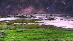 Waterfalling through space (CMQuinlan) Tags: photoshop adobe sonya6000 a6000 sony sigma beach waterfall rocks ocean space stars longexposure