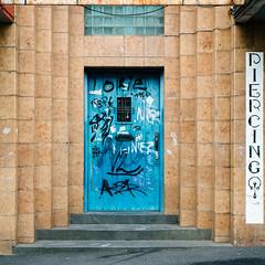 Ballarat 002 (Peter.Bartlett) Tags: vsco square victoria australia city doorway wall urbanarte colour artdeco peterbartlett microfourthirds urban steps text lunaphoto m43 kodakportra160emulation dilapidated architecture olympuspenf sign graffiti facade door bakeryhill au