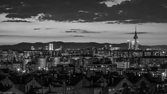 Y llegó la noche... (Eugercios) Tags: madrid españa espanha europa europe spain capital cityscape ciudad city cidade skyline skyscrapers night noche noite blanco negro bw black white branco preto paisagem paisaje urbanview urban urbano